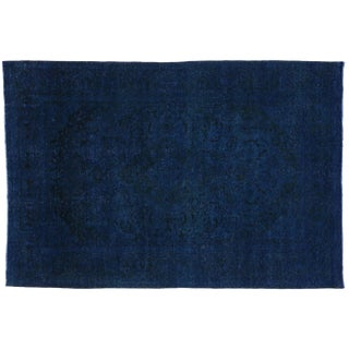 Distressed Overdyed Blue Persian Rug - 7′11″ × 11′8″