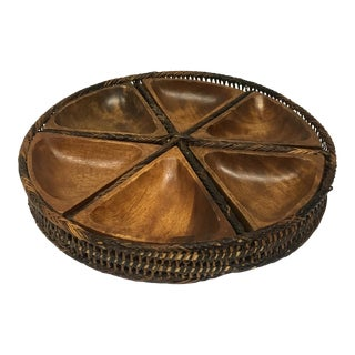 Vintage Woven Condiment Tray With Wooden Bowls