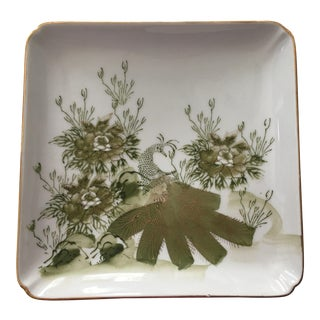 Vintage Japanese Green and White Porcelain Plate