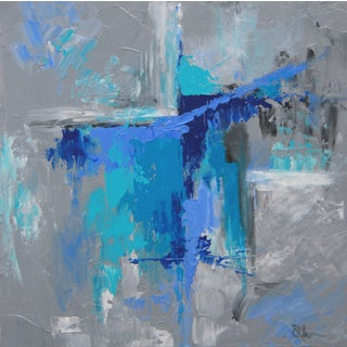 Abstract Blue Textured Painting by Celeste Plowden