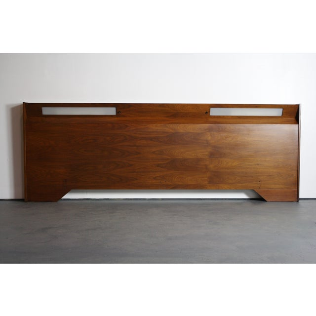 mid century walnut built in light king headboard chairish. Black Bedroom Furniture Sets. Home Design Ideas