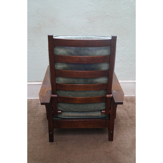 Stickley Mission Oak Morris Chair Leather Recliner Chairish