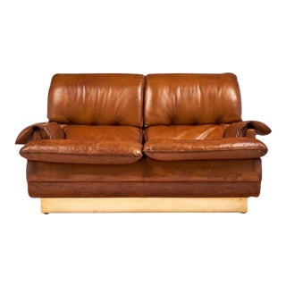 Modernist French Leather and Brass Sofa