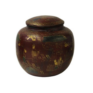Chinese Brown Lacquer Scenery Painting Round Container Jar