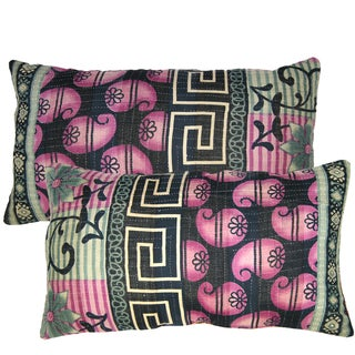 Purple And Black Kantha Lumbar Pillows - Pair