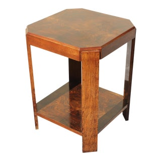 Circa 1940's French Art Deco Burl Walnut Square Side Table