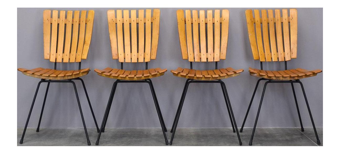Arthur Umanoff Raymor Mid Century Slat Chairs, Set/4