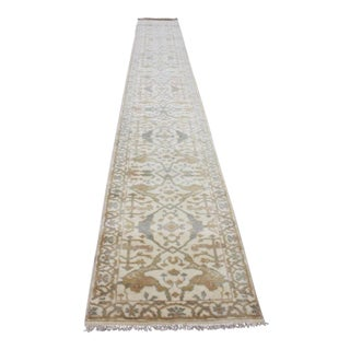 Cream, Blue & Gold Oushak Runner - 2′7″ × 20′