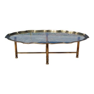 Vintage Hollywood Regency Glass Tray Table Brass Coffee Table