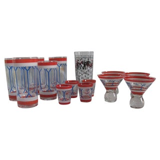 Vintage Red White Blue Painted Barware Set