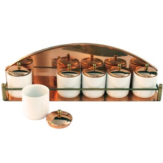 Vintage Copper Spice Rack & Canisters - Set of 7