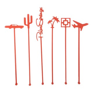 Coral Palm Springs Party Drink Stirrers - S/6