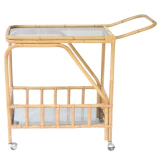 Bohemian Glass Shelf Rattan Bar Cart on Wheels