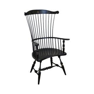 Frederick Duckloe Black Painted Stenciled Windsor Gentlemans Arm Chair