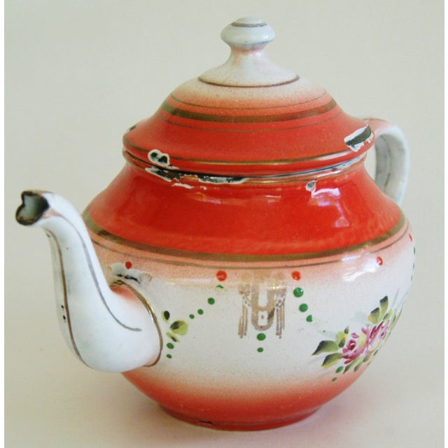 1930s French Enamelware Hand-Painted Teapot - Image 3 of 7