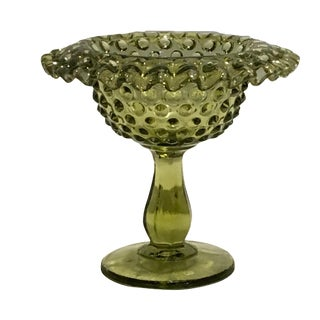 Vintage 1950s Fenton Green Hobnail Glass Compote With Rolled Rim