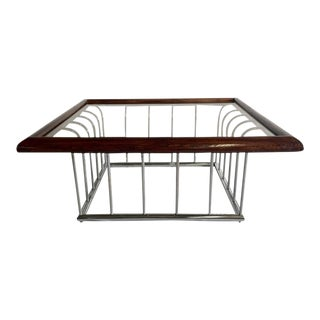 Vintage Milo Baughman Wood and Chrome Glass Top Cocktail Table
