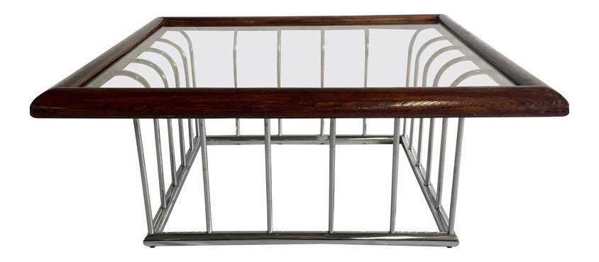 vintage milo baughman wood and chrome glass top cocktail table