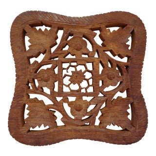 Hand Carved Footed Shesham Wood Trivet
