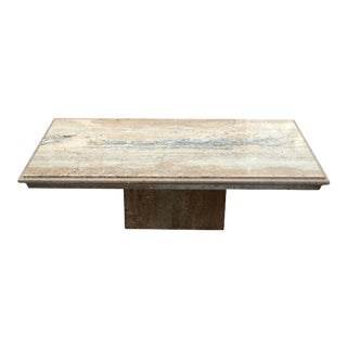 1970's Mid-Century Modern Beige & Grey Stone Slab Coffee Table