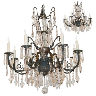 Pair of French Tarnished Bronze & Crystal Chandeliers