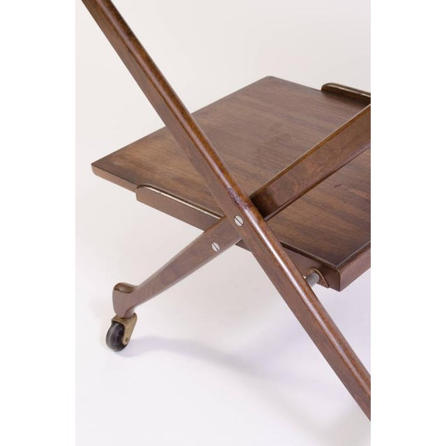 Danish Folding Walnut Bar Cart with Serving Tray - Image 7 of 10