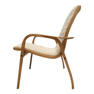 """Yngve Ekström Laminated Birch and Wool Upholstered """"lamino"""" Chair Swedese, 1956"""