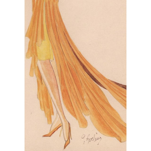 Original Art Deco Fashion Drawing - Image 4 of 4
