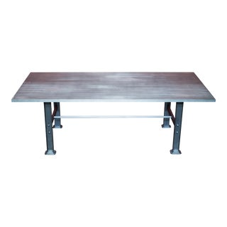 Industrial Brushed Steel Dining Table
