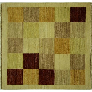 New Hand Knotted Multicolored Gabbeh Rug - 4' x 4'