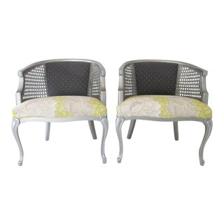 Pair of Refurbished Vintage Queen Anne Style Club Chairs