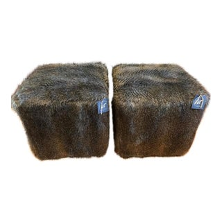 Bernhardt Faux Fur Ottomans - A Pair