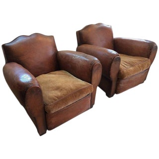 Authentic Pair of Distressed French Vintage Moustache Style Leather Club Chairs
