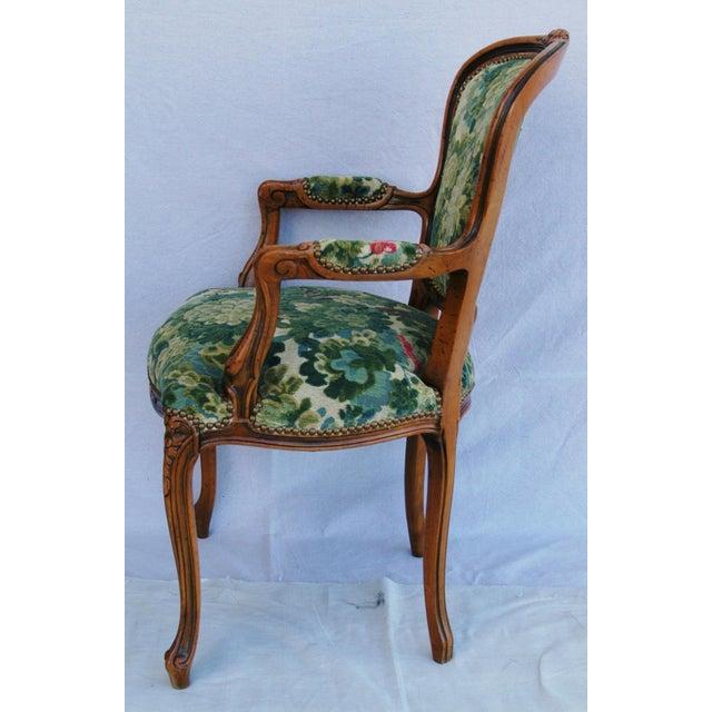 Scalamandre Marly Velvet Tapestry Upholstered Walnut Armchair - Image 9 of 10