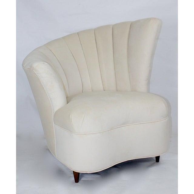 Vintage Hollywood Regency Fan Back Chair & Ottoman - Image 3 of 5
