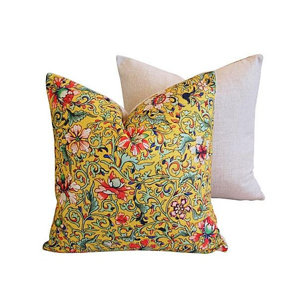 Image of Colorful Asian Floral Linen Pillows - a Pair