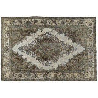 Pakistani Distressed Brown Rug- 6′7″ × 9′9″