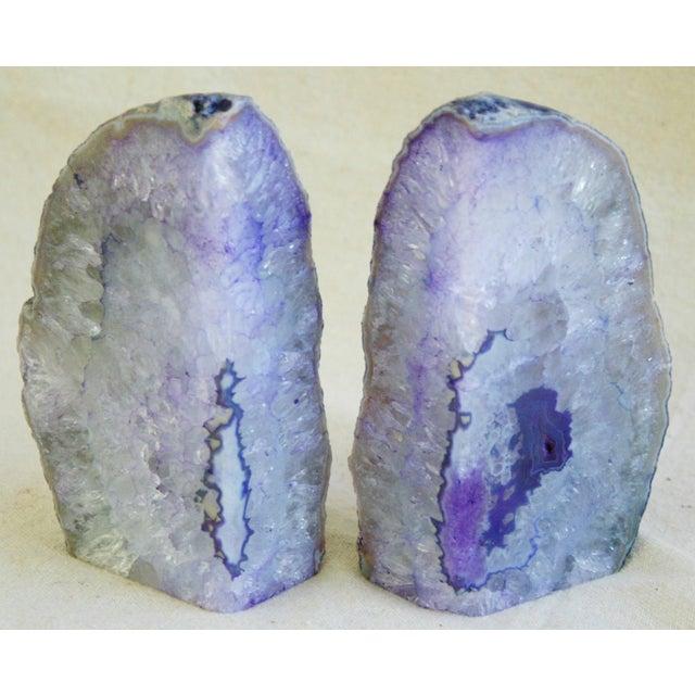 Violet Crystal Rock Geode Bookends - Image 7 of 7