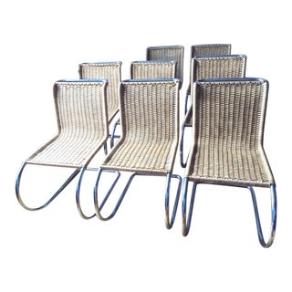 Ludwig Mies Van Der Rohe MR10 Woven Chairs - Set of 8