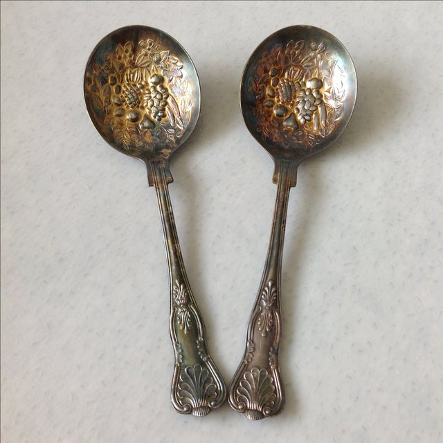 English Silver Plated Berry Servings Spoons - Pair - Image 2 of 9