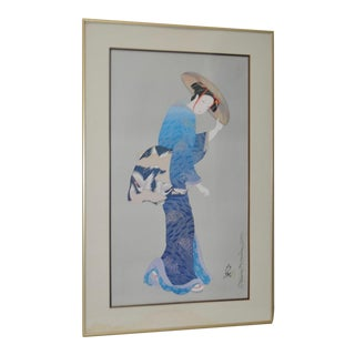 """Signed """"Woman in Blue"""" Japanese Serigraph"""