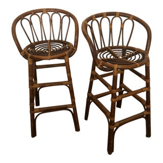 Vintage Bamboo & Rattan Counter Stools - A Pair