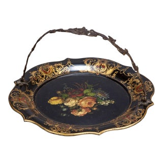 19th Century Hand-Painted Papier Mache Plate With Metal Handle