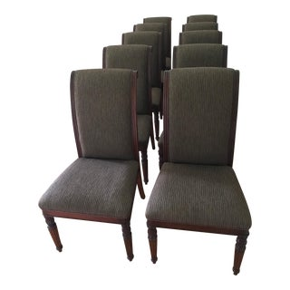 Burgundy and Gold Stripe Regency Style Armless Dining Chairs - Set of Ten