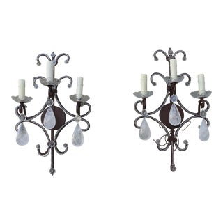 Rock Crystal Sconces - A Pair