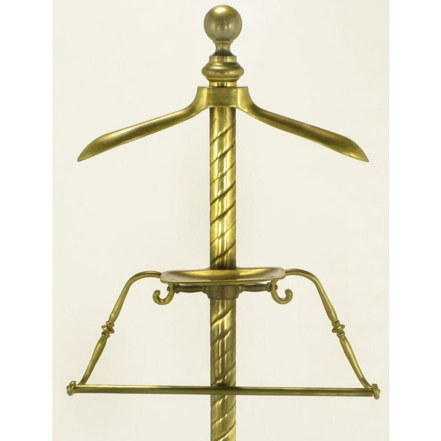 Spiral Brass Valet With Brass Ball Finial & Tray On Tripod Base - Image 3 of 6