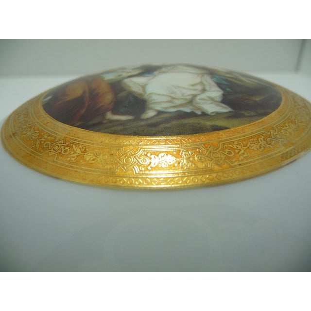 Vintage Round Dome Lid Porcelain Box Bavaria Classical Maidens With Cherub - Image 6 of 8