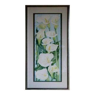 "Katherine Seneke ""White Calla Lilies"" Watercolor Painting"