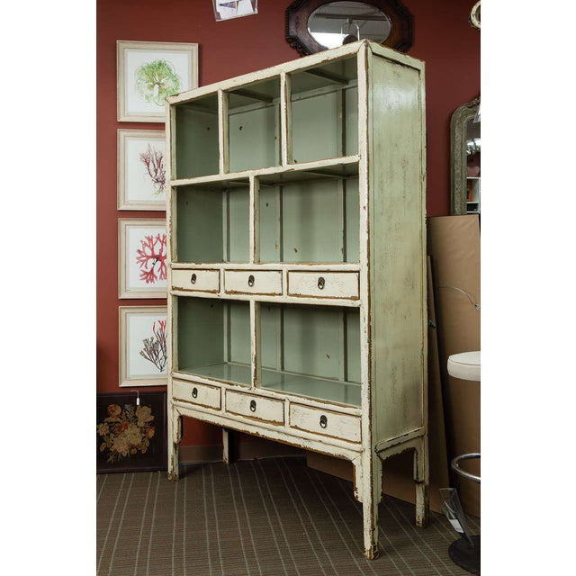 Chinese Cream Lacquered Open Shelf Cabinet - Image 3 of 6