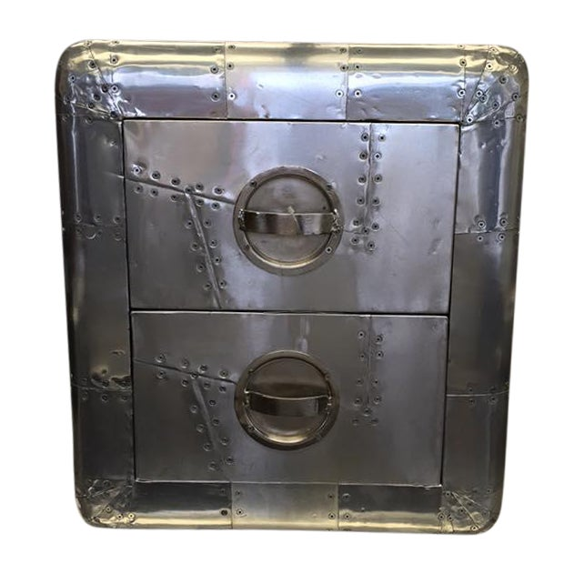 Image of Small Riveted Metal Aviator Two-Drawer Cabinet
